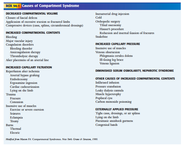 Causes of Compartment Syndrome (Roberts + Hedges)