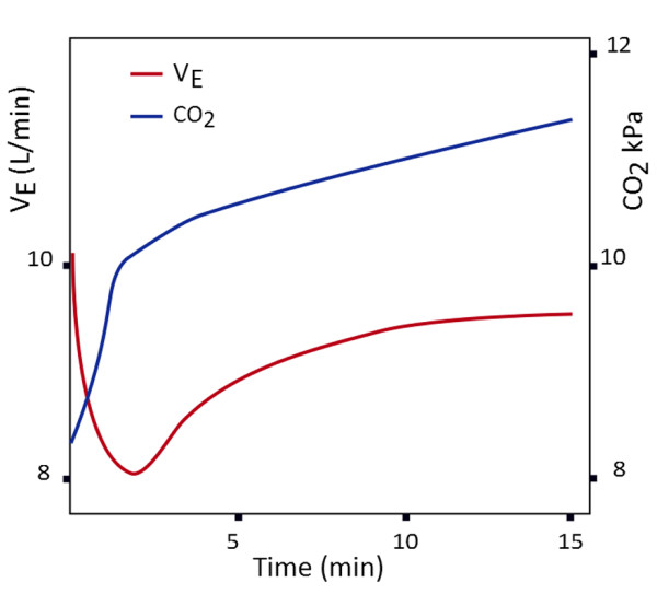 Effect of minute ventilation during oxygen induced hypercapnia (Abdo WF 2012)
