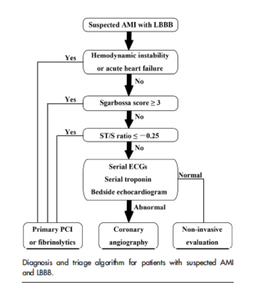 Diagnostic Algorithm for Suspected in AMI in LBBB (Cai 2013)